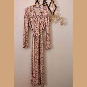 ❀VTG Pink Long Sleeve Velvet Trim Maxi Dress 10
